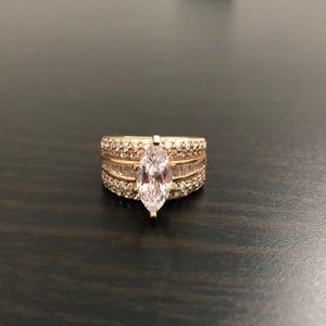 Sterling Silver Cubic Zirconia Marquis Ring